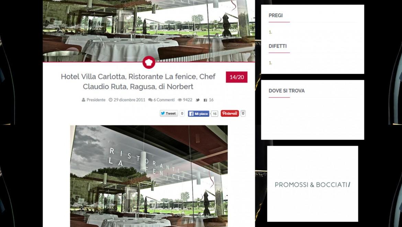 Hotel Villa Carlotta, Ristorante La Fenice, Chef Claudio Ruta – Passione Gourmet